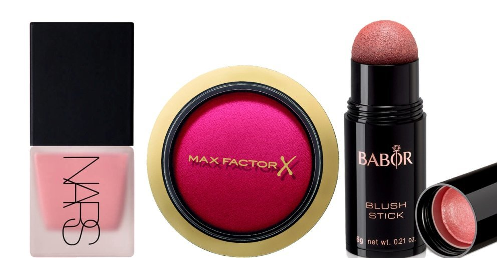 Max Factor Creme Puff Blush, Nars Liquid Blush, Babor Age ID Blush Stick